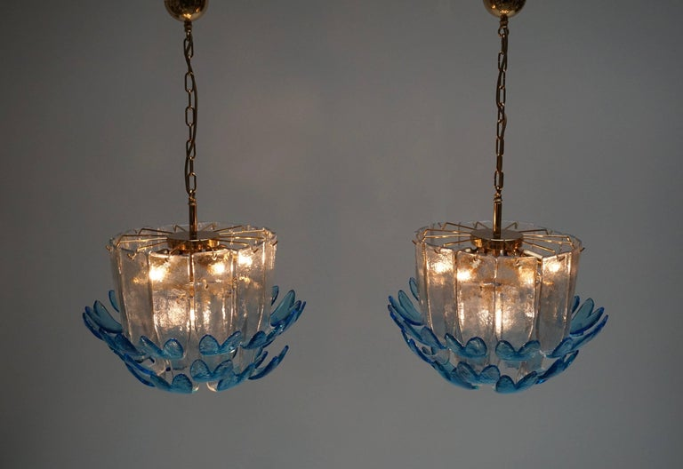 Two Rare Murano Glass Chandeliers by Alfredo Barbini For Sale 3