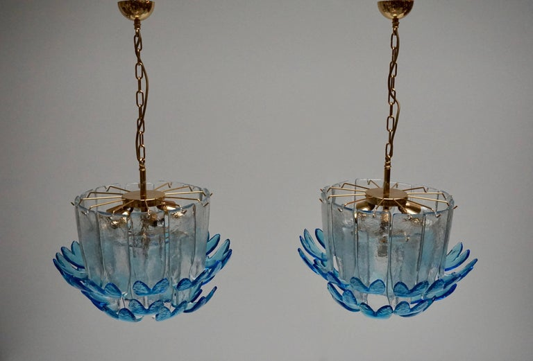 Italian Two Rare Murano Glass Chandeliers by Alfredo Barbini For Sale
