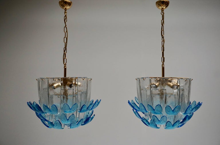 20th Century Two Rare Murano Glass Chandeliers by Alfredo Barbini For Sale