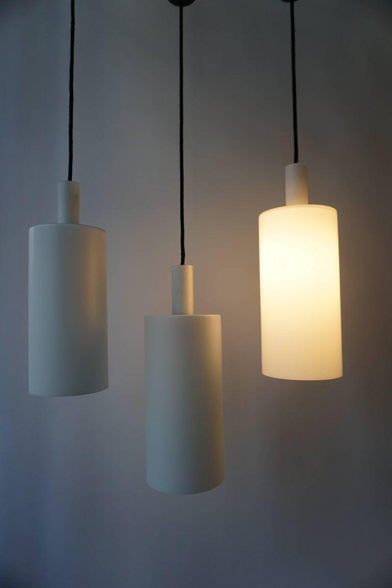 Italian Three Murano Glass Pendant Lights by Vistosi For Sale