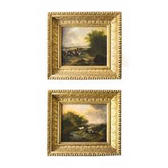 Antique Pair of Oil Paintings of Pastoral Scenes Richard Bolton 19th Century