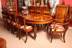 Burr Walnut Regency Style Dining Table and 12 Chairs
