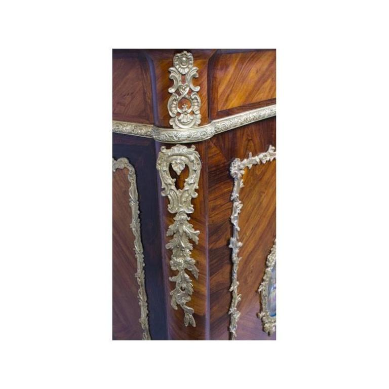 Ormolu 19th Century French Marble Top Kingwood Side Cabinet Plaques For Sale