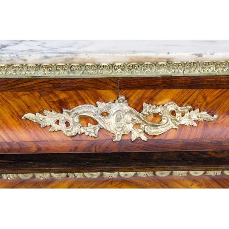 Mid-19th Century 19th Century French Marble Top Kingwood Side Cabinet Plaques For Sale