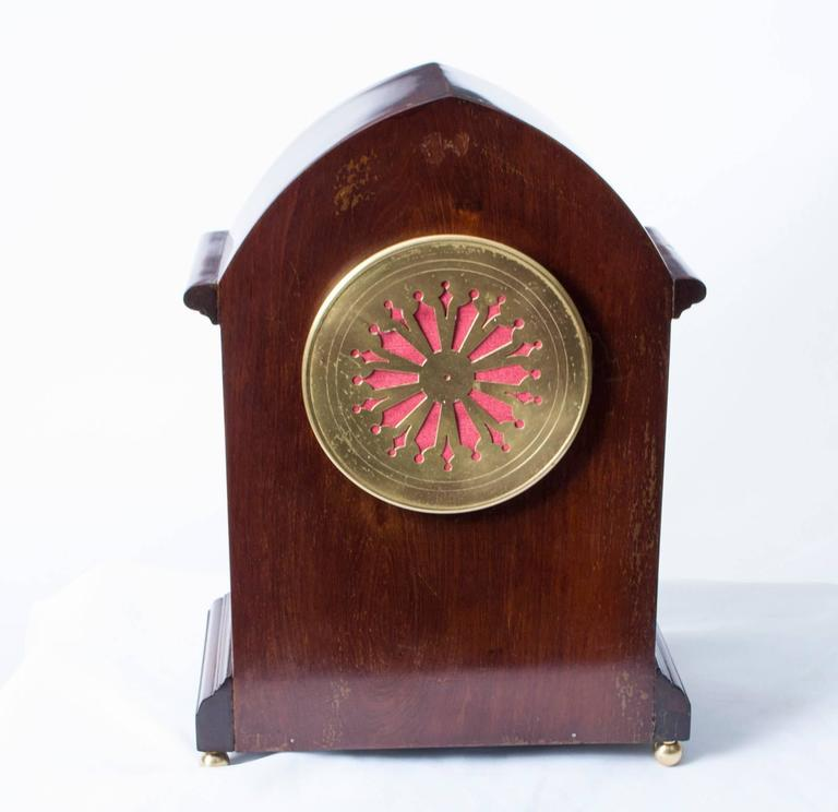 Early 20th Century French Marquetry Mahogany Mantle Clock For Sale 4