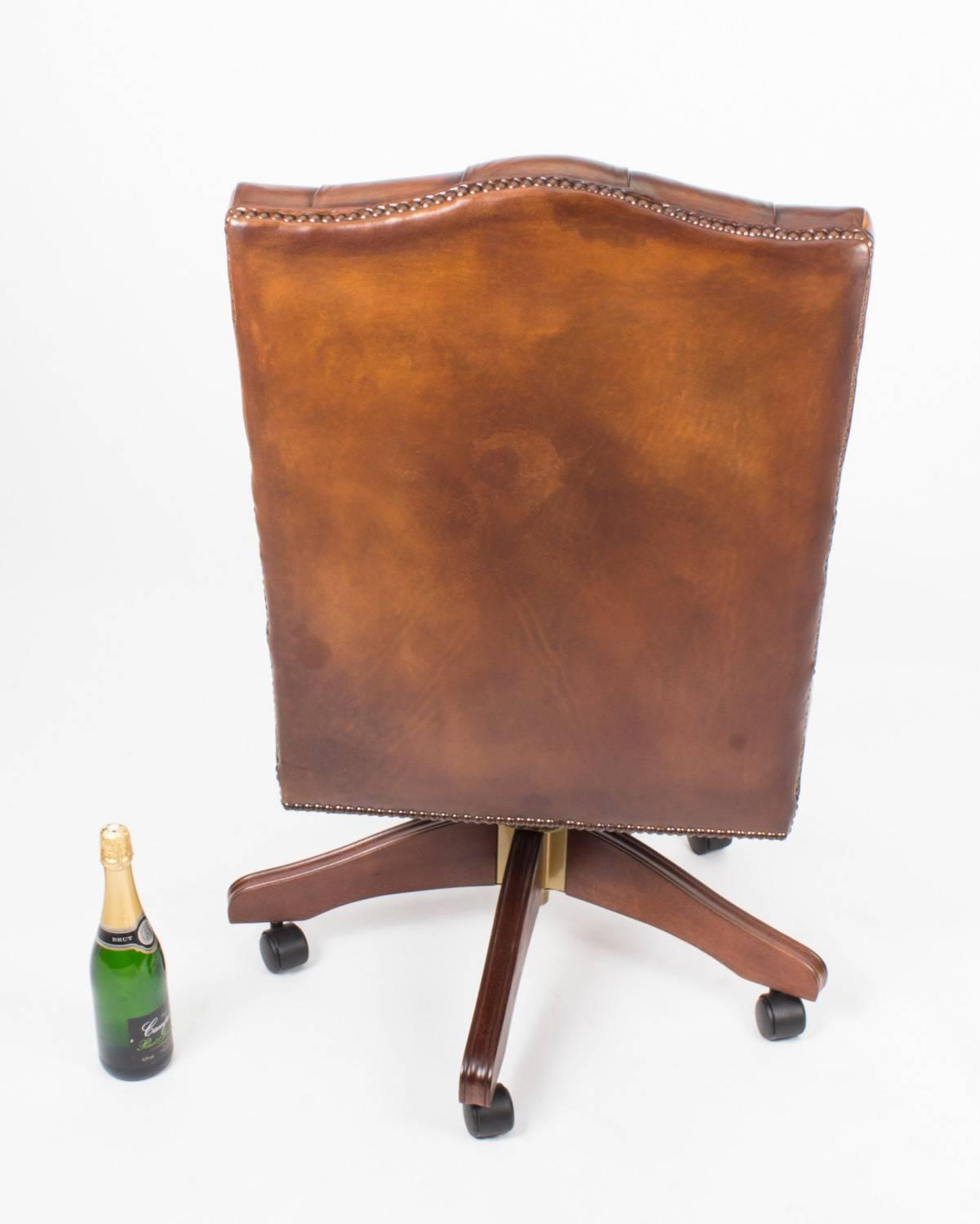 English Handmade Gainsborough Leather Desk Chair Tan Brown For At 1stdibs