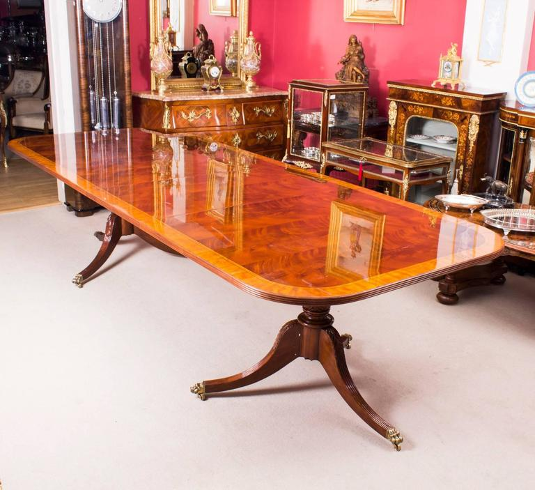 This Is A Beautiful Regency Style Dining Set Which Comprises A Flame  Mahogany Twin Pillar Dining