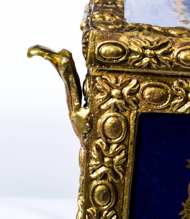 Ormolu Large Hand-Painted Navy Sèvres Porcelain Casket For Sale