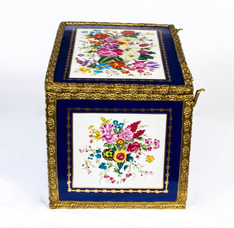 Late 20th Century Large Hand-Painted Navy Sèvres Porcelain Casket For Sale