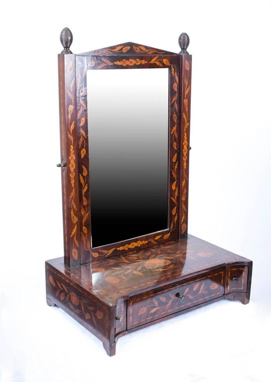 Charmant 18th Century Dutch Marquetry Dressing Table Mirror For Sale