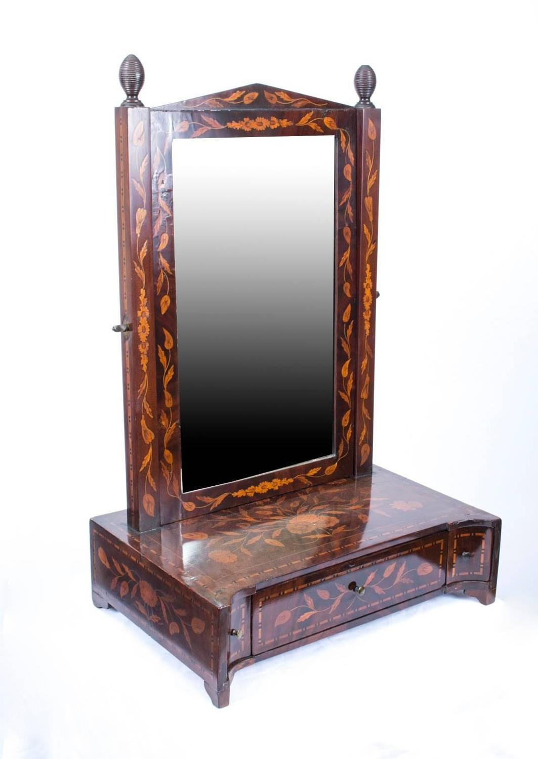Antique mirrored dressing table - Antique Dutch Marquetry Dressing Table Mirror Circa 1780 For Sale At 1stdibs