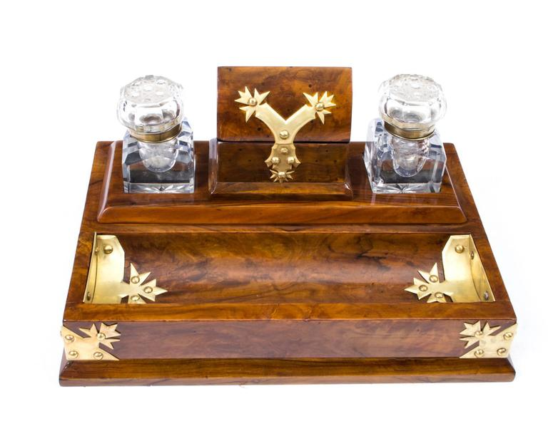 This is a wonderful antique desk set comprising a brass bound ink stand  with a matching - Antique English Walnut And Cut Brass Desk Set, Circa 1860 At 1stdibs