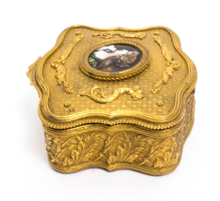 Mid-19th Century 19th Century Gilt Bronze Jewellery Casket & Limoges Miniature For Sale