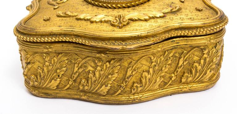 19th Century Gilt Bronze Jewellery Casket & Limoges Miniature In Excellent Condition For Sale In London, GB