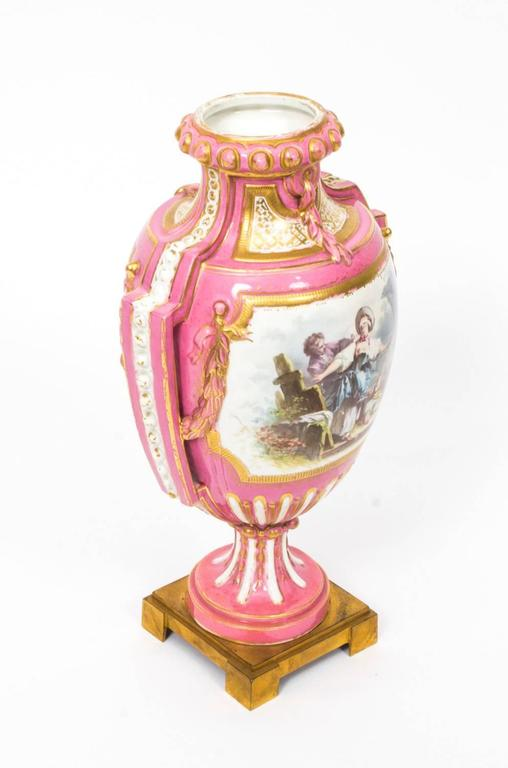 19th century pair of french ormolu mounted pink sevres for Furniture 08081