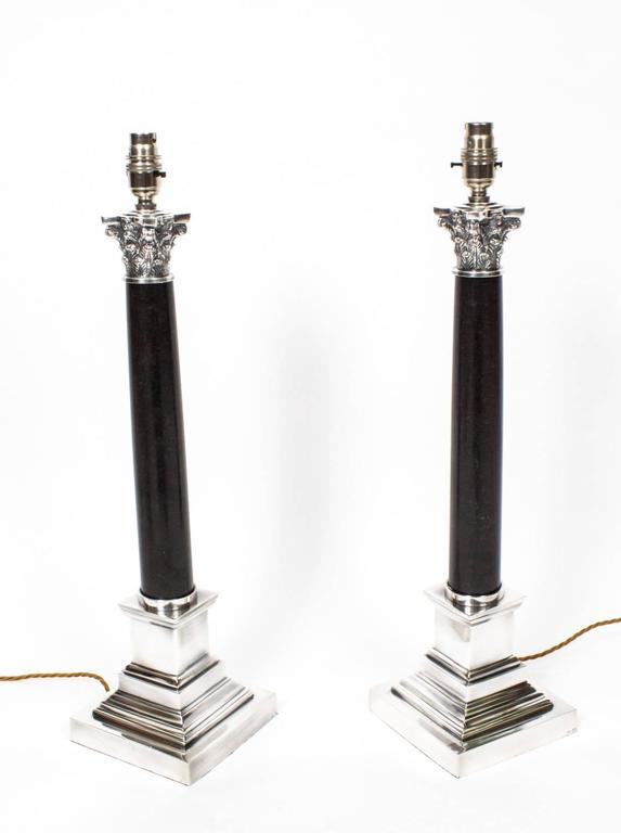 Pair of black marble and silver plate corinthian column table lamps this is a stunning pair of regency style corinthian column table lamps they are wired aloadofball Image collections