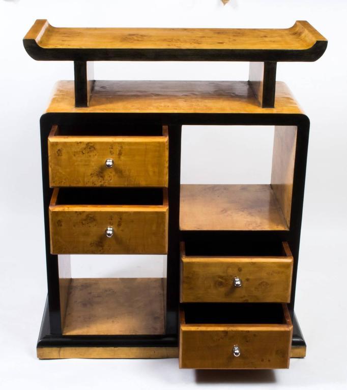 Vintage elegant art deco bird 39 s eye maple cabinet bookcase for Birds eye maple kitchen cabinets
