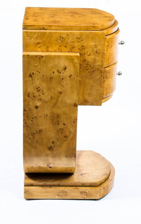 Pair Of Art Deco Style Birdu0027s Eye Maple Bedside Cabinets For Sale 3