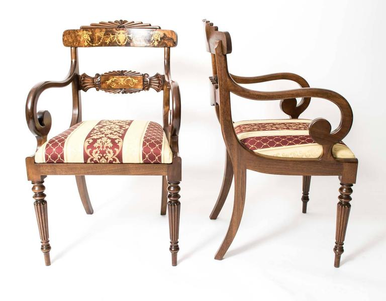 Set 14 Bespoke Handmade Regency Style Burr Walnut Marquetry Dining Chairs 2