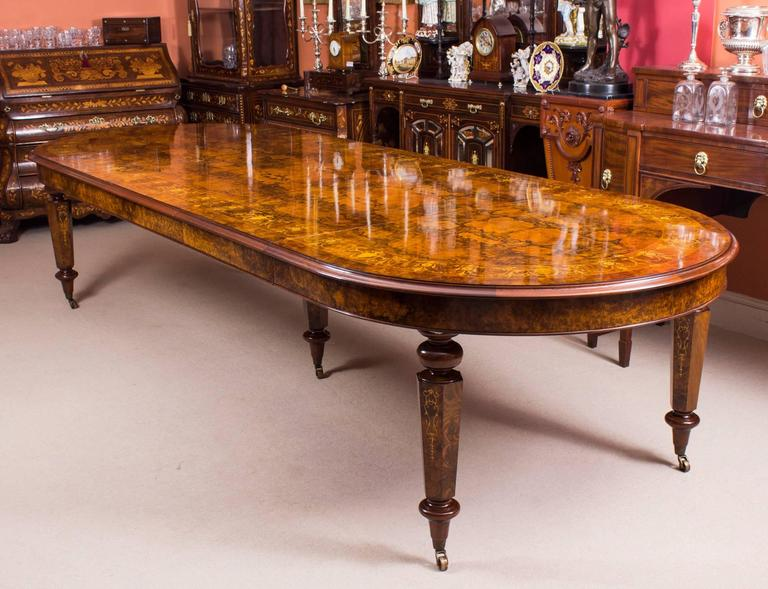 12ft Bespoke Handmade Burr Walnut Marquetry Dining Table and 12 ...