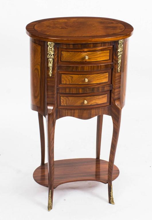 Pair Of Louis Xvi Style Burr Walnut Bird S Eye Maple Bedside Cabinets In Excellent