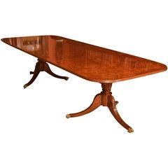 Superb Burr Walnut Regency Style Twin Pillar Dining Table