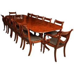Stunning Burr Walnut Regency Style Twin Pillar Dining Table 12 Swag Chairs
