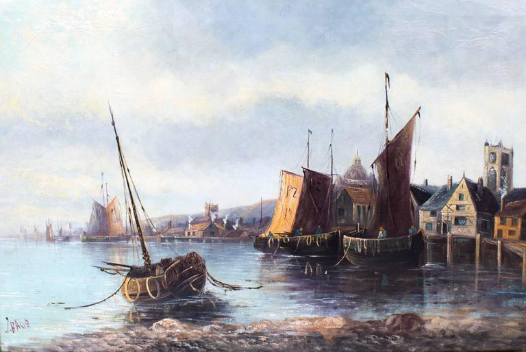 Antique Oil Painting Fishing Boats At Moorings, J.Balie
