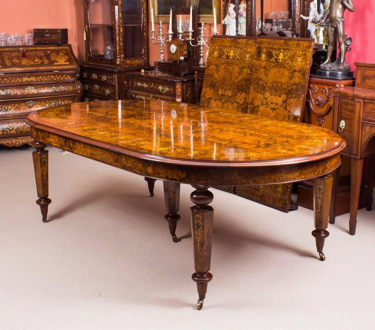 Italian Bespoke Handmade 12ft Victorian Style Burr Walnut Marquetry Dining Table For
