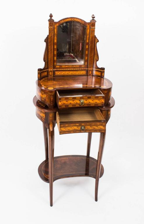 Antique French Kidney Occasional Dressing Table And Mirror