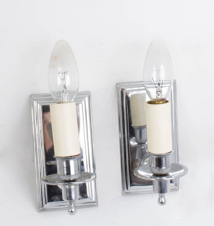 Mid Century Chrome Wall Sconces : Pair Mid-20th Century Chrome Modernist Wall Lights Sconces French For Sale at 1stdibs