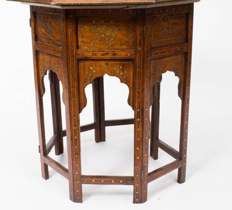 Antique Anglo-Indian Brass Inlaid Hardwood Occasional