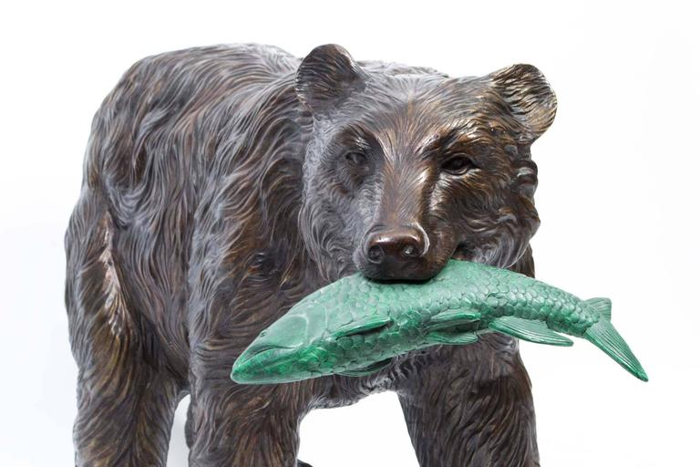 Large Wild Bear Catching Fish Bronze Sculpture For Sale At 1stdibs