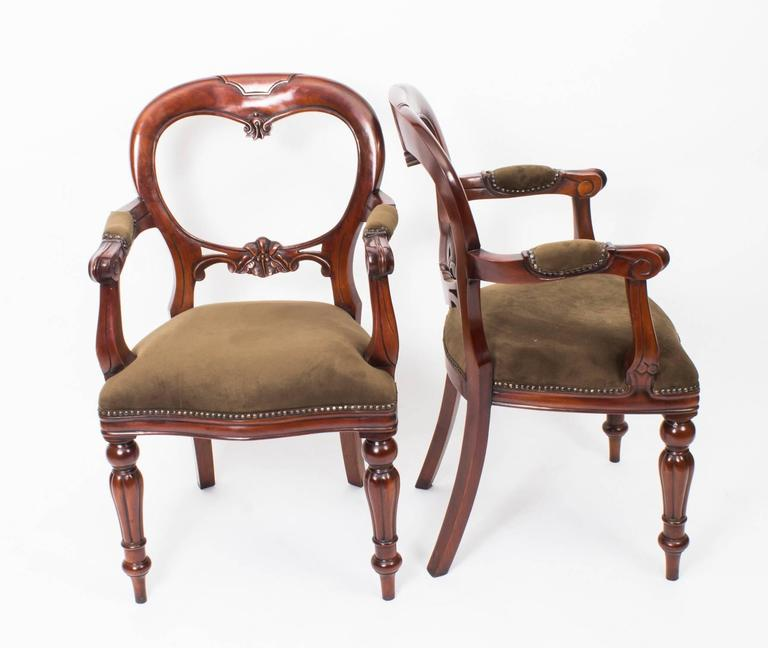 Set of 12 Victorian Style Balloon Back Dining Chairs with ...
