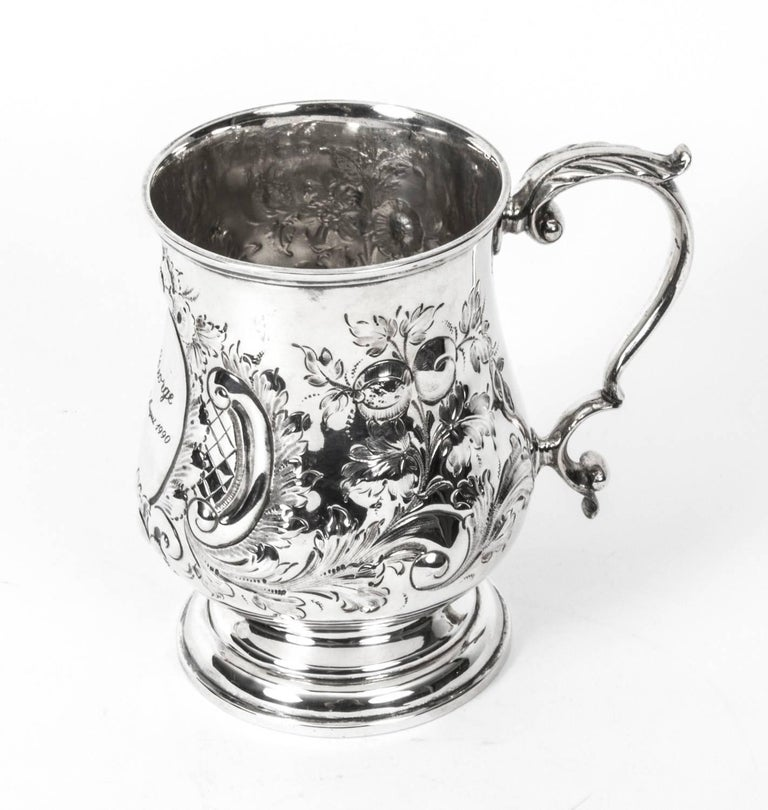 This is a delightful antique Victorian English silver plated engraved and embossed mug, circa 1870 in date.    Condition: In excellent condition, please see photos for confirmation.  Dimensions in cm: Height 13 x width 13 x depth