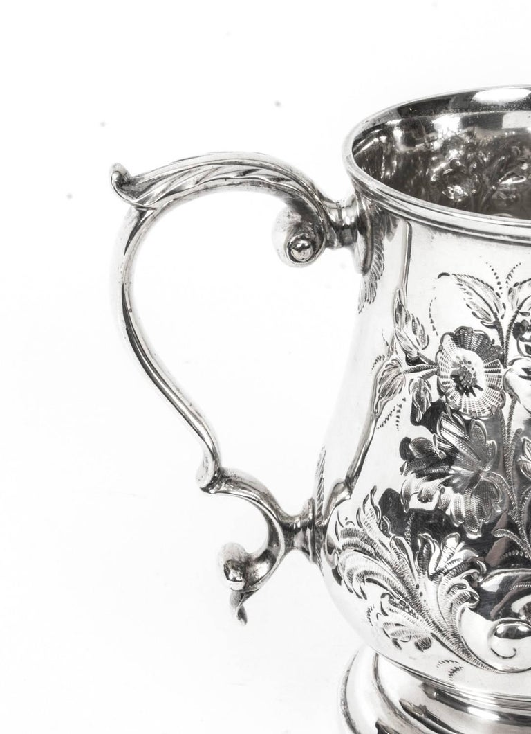 19th Century Victorian Silver Plated Embossed and Engraved Mug In Excellent Condition For Sale In London, GB