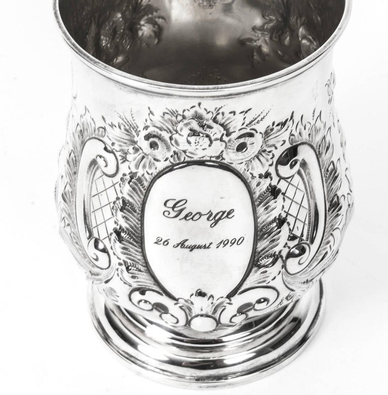 19th Century Victorian Silver Plated Embossed and Engraved Mug For Sale 3