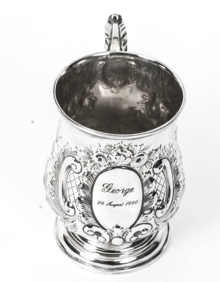 19th Century Victorian Silver Plated Embossed and Engraved Mug For Sale 2