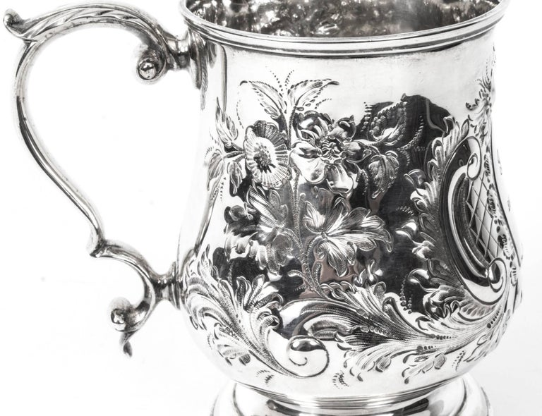 English 19th Century Victorian Silver Plated Embossed and Engraved Mug For Sale