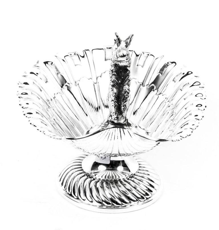 Antique Victorian Silver Plated Squirrel Nut Dish, circa 1900 1