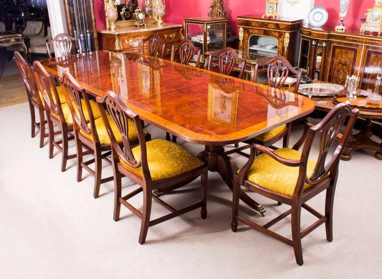 Bespoke flame mahogany 10ft regency style twin pillar for 10 ft dining table sale