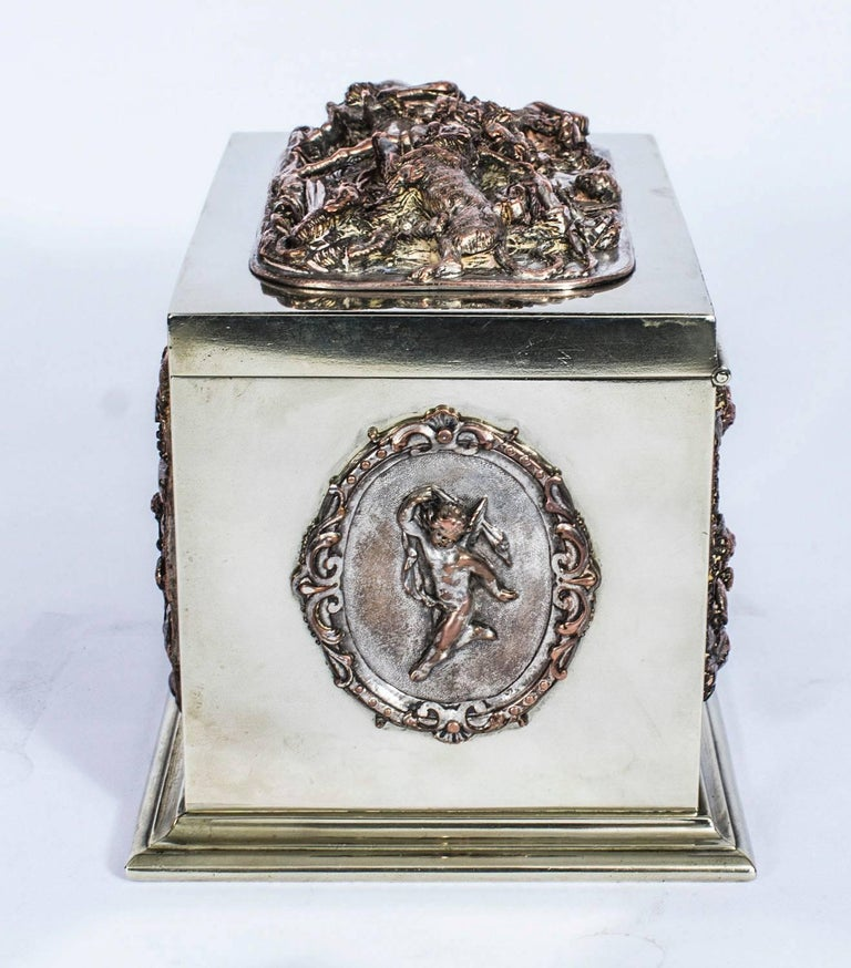 19th Century French Silvered Copper and Brass Jewelry Casket For Sale 2
