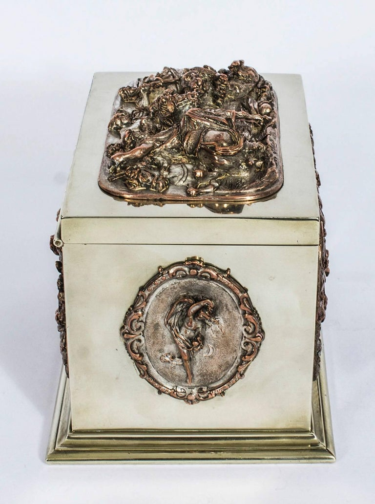Silver Plate 19th Century French Silvered Copper and Brass Jewelry Casket For Sale