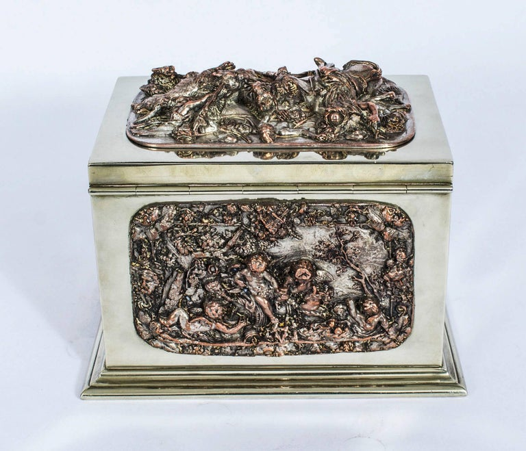 19th Century French Silvered Copper and Brass Jewelry Casket In Excellent Condition For Sale In London, GB