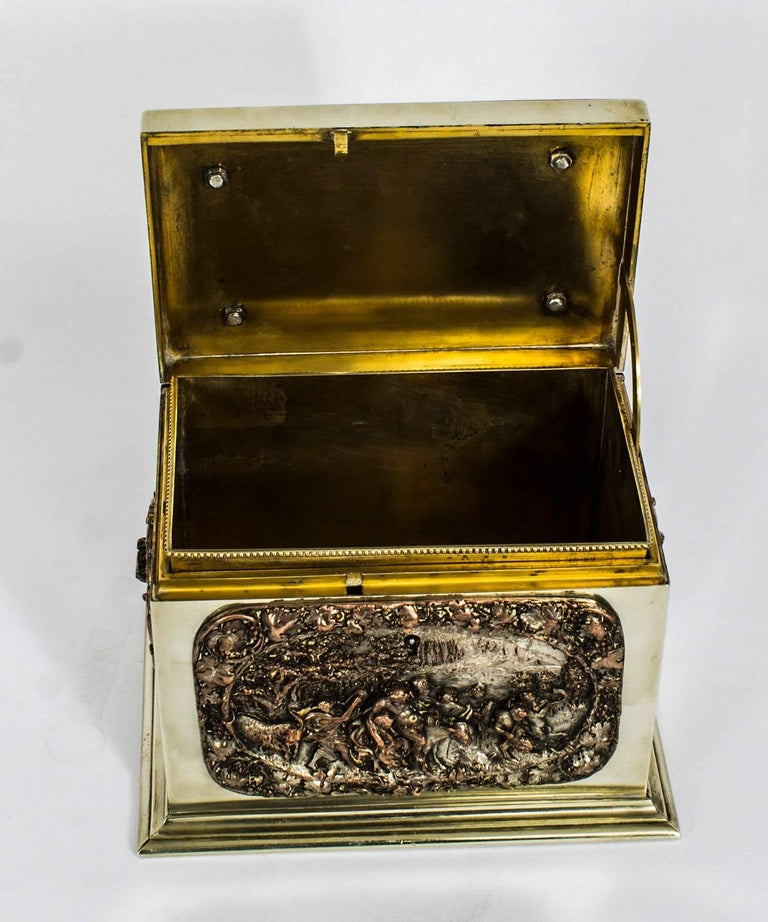 19th Century French Silvered Copper and Brass Jewelry Casket For Sale 4