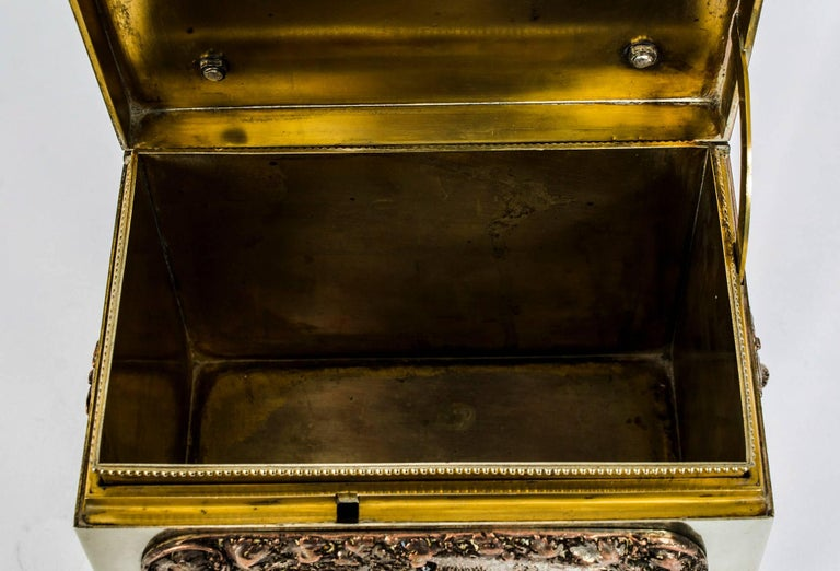 19th Century French Silvered Copper and Brass Jewelry Casket For Sale 5