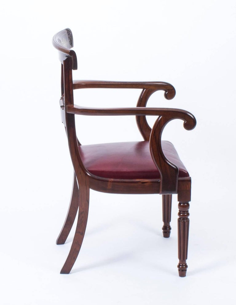 English 19th Century Regency Brass Marquetry Elbow Chair Armchair For Sale