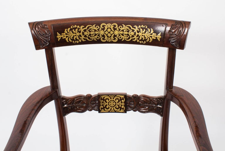 19th Century Regency Brass Marquetry Elbow Chair Armchair In Excellent Condition For Sale In London, GB