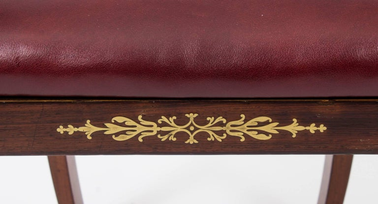 19th Century Regency Brass Marquetry Elbow Chair Armchair For Sale 4
