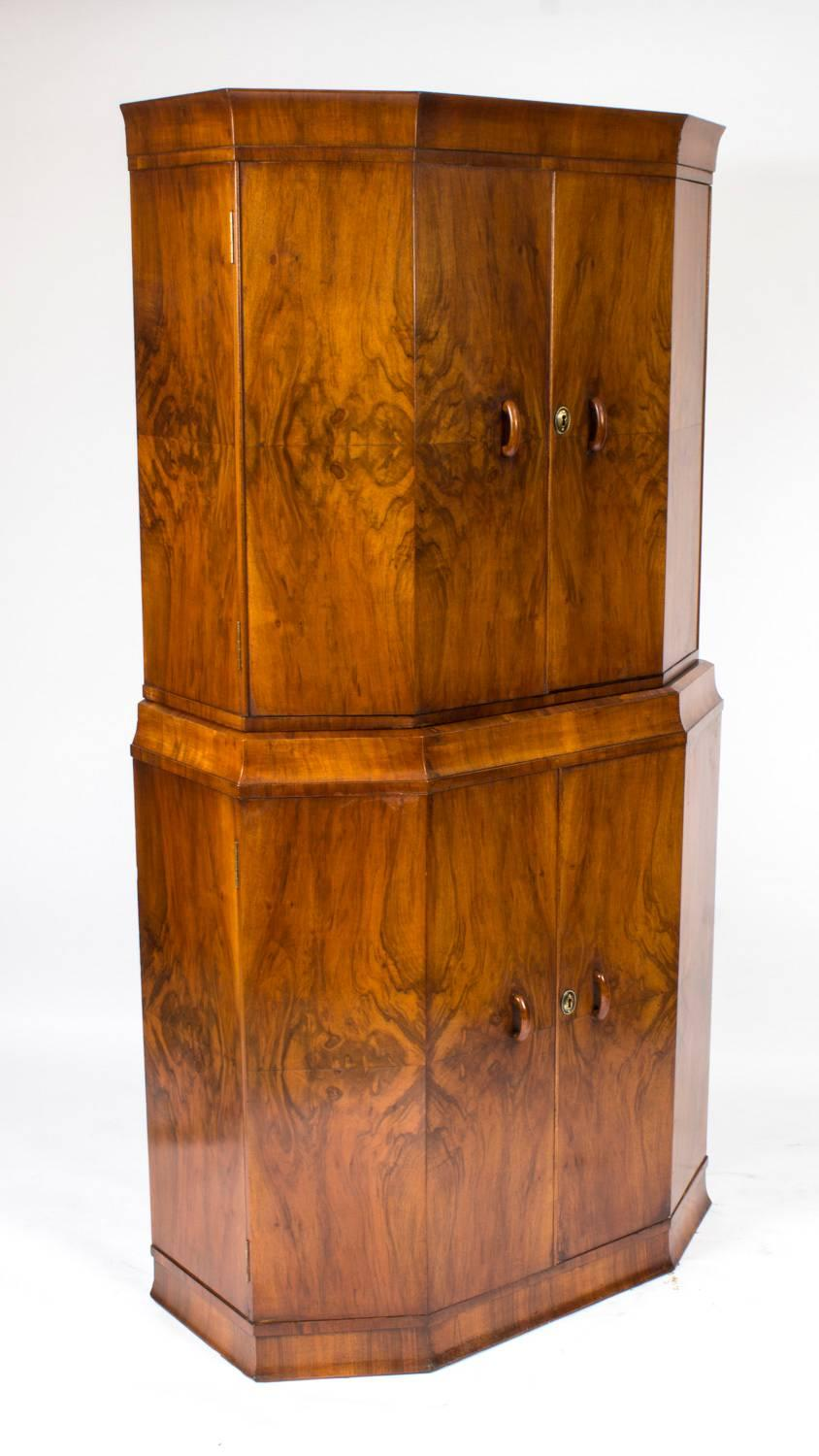 Antique Art Deco Burr Walnut Cocktail Cabinet Dry Bar, circa 1925 ...